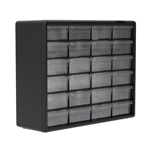 Black Pack of 2 20-Inch W x 6-Inch D x 16-Inch H Akro-Mils 24 Drawer 10124 Plastic Parts Storage Hardware and Craft Cabinet,