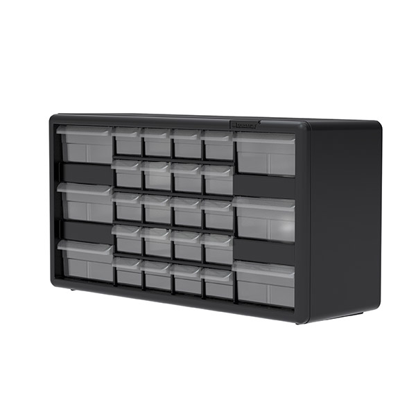 Pack of 2 Plastic Parts Storage Hardware and Craft Cabinet, Akro-Mils 26 Drawer 10126 20-Inch W x 6-Inch D x 10-Inch H Black