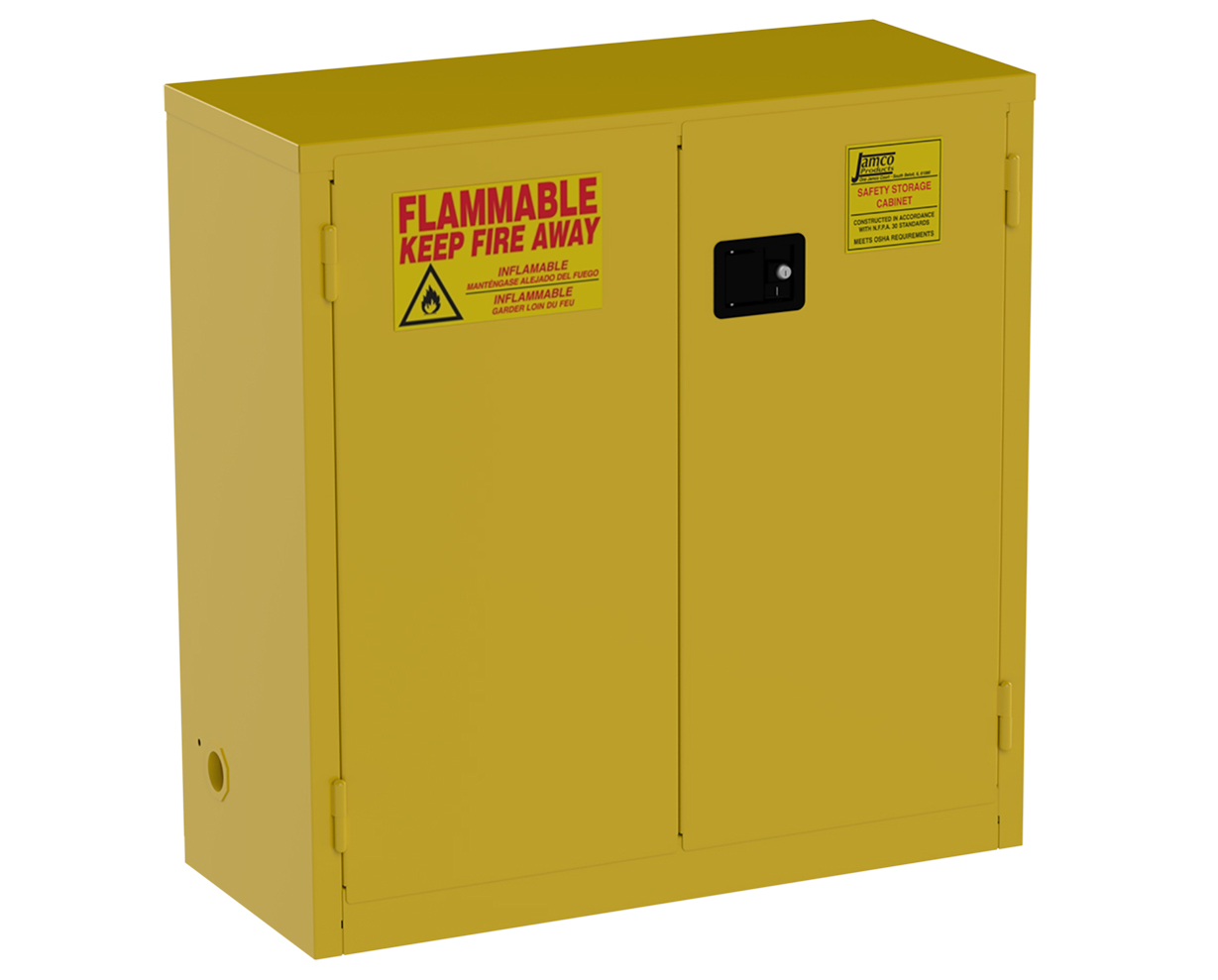 some of these steel storage cabinets offer self closing latches which will shut the doors in case of a fire